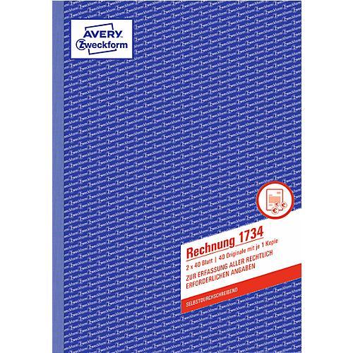 5x Avery Zweckform Formularbuch Rechnung weiß A5 2x40 Blatt Beleg Nachweis