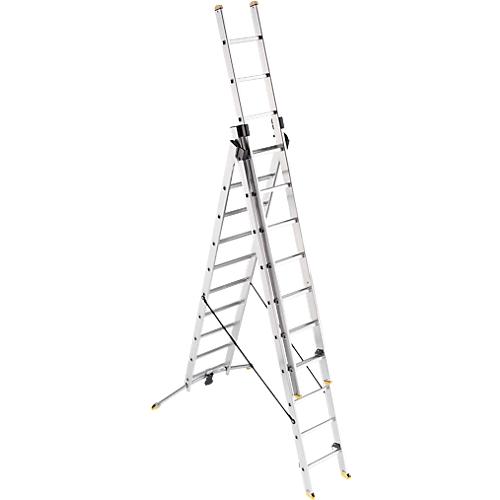 2a0d08c1d87 3-delige multifunctionele aluminiumladder met LOT-systeem, 2x10 + 1x9  sporten