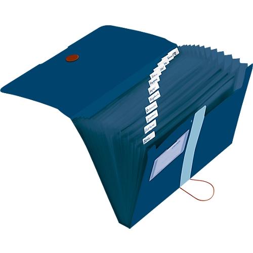 Fächermappe A4 Recycling Pp Folie 12 Fächer Visitenkarten Tasche Dunkelblau