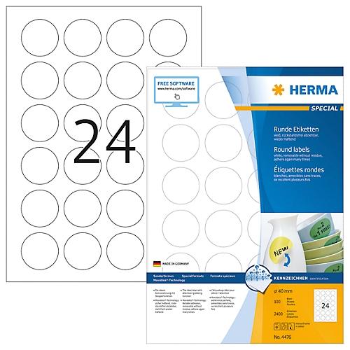 Herma Runde Etiketten Nr 4476 Auf Din A4 Blättern 2400 Etiketten 100 Bogen
