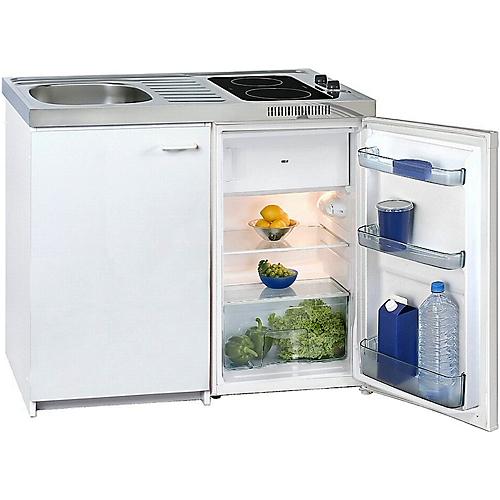 Miniküche KK 2000Z A+, 4* Kühlschrank mit 102 l, Duo-Ceranfeld 1200/1700 W,  Spüle, Unterschrank mit Flügeltür, weiß