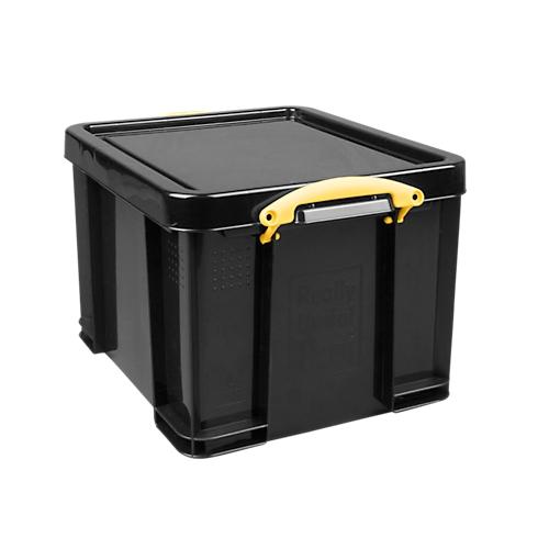 Really Useful Boxes Aufbewahrungsbox 35l Schwarz Griffe Gelb