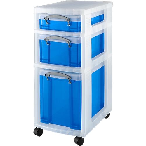 rollwagen mit 3 transparent blauen boxen g nstig kaufen. Black Bedroom Furniture Sets. Home Design Ideas