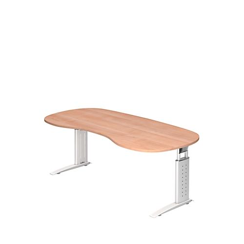 schreibtisch tarvis nierenform b 2000 x t 1000 mm gestell wei g nstig kaufen sch fer shop. Black Bedroom Furniture Sets. Home Design Ideas