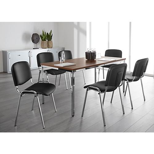 set 6 st hle iso swing basic kunstleder gestell chrom tisch 1600 x 800 mm nussbaum dekor. Black Bedroom Furniture Sets. Home Design Ideas