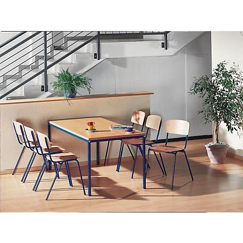 Komplett Set Stahlrohr Tisch Mit 6 Stapelstühlen Günstig