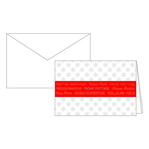 Rote Weihnachtskarten.Weihnachtskarten Korsch 170 X 115 Mm Rote Banderole Mit Einlagen Umschlägen Weiß 10 Stück