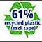 61% gerecycled plastic