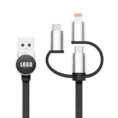 3-in-1 Logo Ladekabel, MFI-zertifiziert, Micro-USB, Lightning & USB-C, 1,2m, schwarz, inkl. Doming