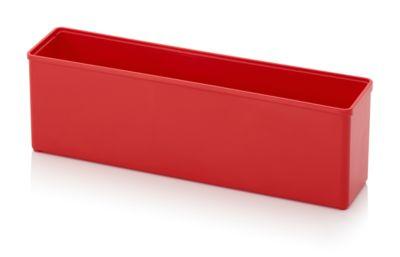 Assortimentsdoos Inzetbak, voor rastermaat 1 x 4, rechthoekig, rood, voor de roostermaat 1 x 4.