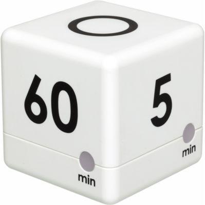 Digital Timer CUBE TIMER, Würfelform, 4 Ablaufzeiten, akustisches Ablaufsignal, weiß
