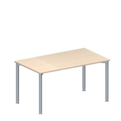 Konferenztisch MODENA FLEX, höhenverstellbar, Rechteck-Form, 4-Fuß-Rundrohr, B 1400 x T 800 mm, Ahorn-Dekor