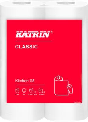 Küchenrolle KATRIN Classic, weiß, 2-lagig, 64 Blatt pro Rolle, 28 Rollen je Karton