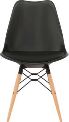 Kuipzitting DOGEWOOD, kunststof, met houten poten, zitkussen, 2 stuks, zwart