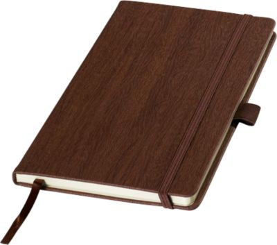 Notizbuch in Holzoptik, 80 Blatt liniert, mit Gummiband, Lesezeichen & Stiftschlaufe