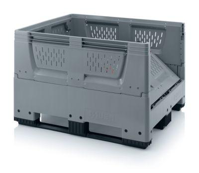 Palletbox Grote doos met ventilatiesleuven, opvouwbaar, kunststof, 120 x 100 x 100 x 79cm, met ventilatieopeningen.