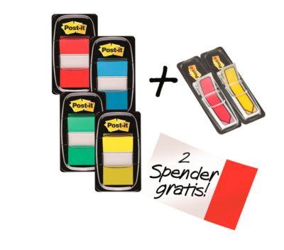 Post-it® Index I680-P6 Haftstreifen, farbsortiert, 25,4 x 43,2, 4 x 50 Stück + gratis Indexpfeile