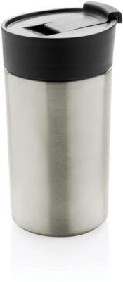 Thermobecher, Edelstahl, doppelwandig, auslaufsicher, 350 ml, Lasergravur o. Tampondruck 20 x 50 mm, silber