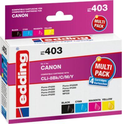 Tintenpatronen- Multipack edding kompatibel für Canon CLI-8BK, 4-farbig, 965 Seiten