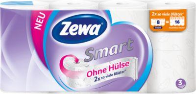 Toilettenpapier Zewa Smart, weiß, 3-lagig, 300 Blatt pro Rolle, 8 Rollen