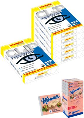 15 Pakete Kopierpapier Paper@Print + Neapolitaner Spenderbox