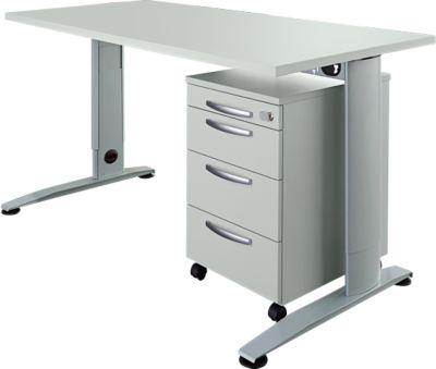 2-delige kantoormeubelset LOGIN C-poottafel, B 1600 mm + verrijdbare zuil, 3 laden, uittrekbaar keukengerei, centrale vergrendeling, lichtgrijs