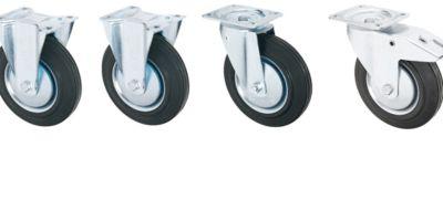 2 zwenk- en 2 bokwielen voor kiepbak