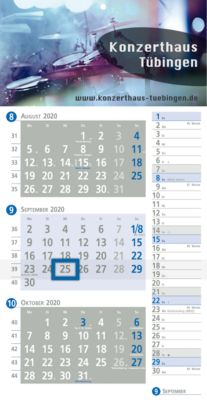 3-Monats-Planer-Kalender, deutsch, grau/blau