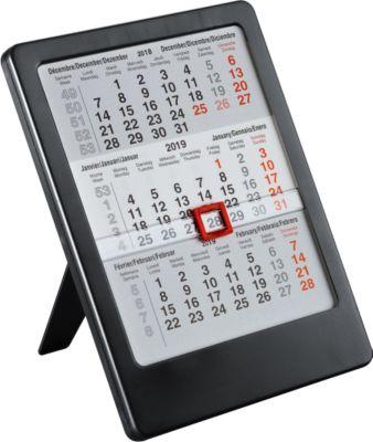 3-Monats-Tischkalender MINI mal Drei, international, für 2 Jahre, schwarz