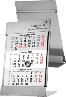 3-Monats-Tischkalender Noble Steel Data, für 2 Jahre, deutsch