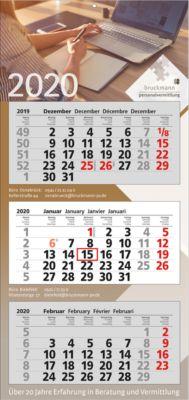 3-Monats-Wandkalender, mit 4c-Digital-Druck, international