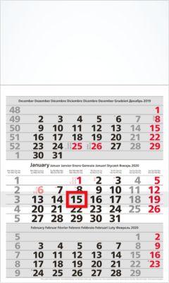 3-Monatskalender, 300 x 490 mm, 8-sprachig, 12 Blatt mit Wochenzählung, mit Datumsschieber