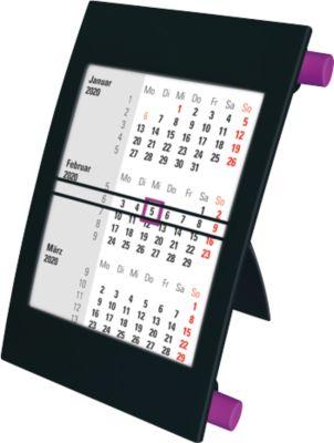 3-Monatskalender, mit 2 Jahres-Kalendarium, aus Polystyrol, deutsch, schwarz/lila