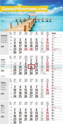 4-Monats-Kalender Kombiplan 4, rot/schwarz