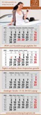 4-Monats-Wandkalender, mit Digital-Druck, international