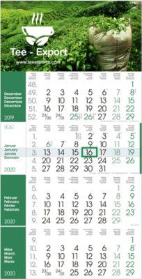 4-Monats-Wandkalender Rainbow, grün