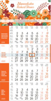 4-Monats-Wandkalender Rainbow, orange