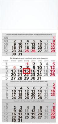 4-Monatskalender, 300 x 630 mm, 8-sprachig, 12 Blatt mit Wochenzählung, mit Datumsschieber