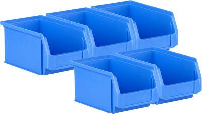 5-delige voordeelset magazijnbakken met zichtopening SSI Schäfer LF221, PP, L 234 x B 150 x H 122 mm, 2,7 l, verzonken handgreep en groeven, blauw