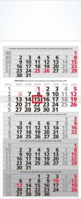 5-Monatskalender, 300 x 720 mm, 8-sprachig, 12 Blatt mit Wochenzählung, mit Datumsschieber
