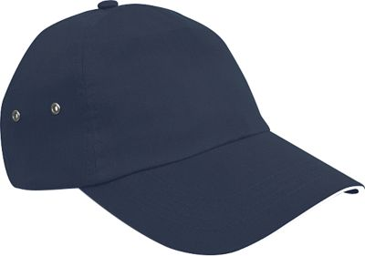 5 Panel Cap Plush Cotton, 100 % Baumwolle, Sandwich-Schirm in Kontrastfarben, navy/weiss