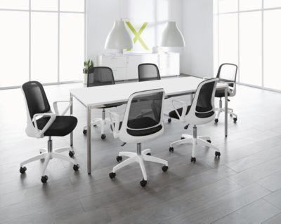 6 conferentiestoelen + tafel, wit