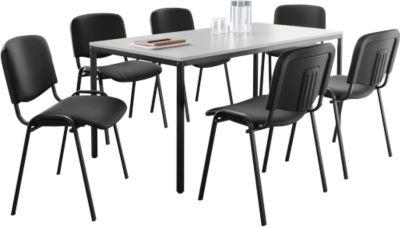 6 ISO BASIC-bezoekersstoelen + 1 x vergadertafel, 1600 x 800 mm SET
