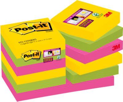 62212SR Post-it® Super Sticky Z- Notes, Rio de Janeiro, 48 x 48 mm,1 pak van 12 blokken van 90 vellen