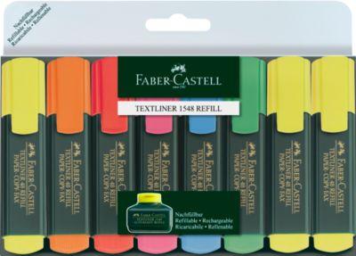 8er-Set Textmarker von FABER-CASTELL, 3 x gelb, je 1x orange, rot, rosa, blau, grün