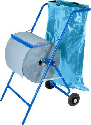 Aanbieding: papierrolhouder op wielen + 2 rollen industriepapier + 50 vuilniszakken van 120 liter
