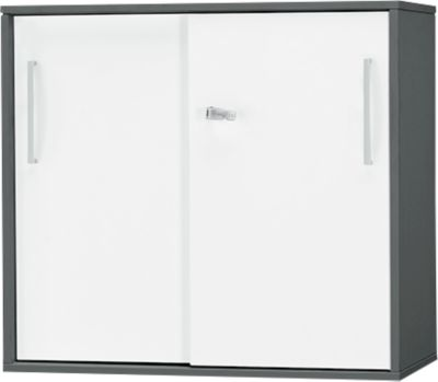 Aanbouw-/opzetschuifdeurkast SET UP, 2 ordnerhoogten, b 800 x d 420 x h 726 mm, grafiet/wit