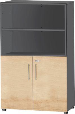 Aanloopcombinatiekast, 4 OH, afsluitbaar, B 800 x D 420 x H 1470 mm, hout, grafiet/kap, 4 OH, afsluitbaar.