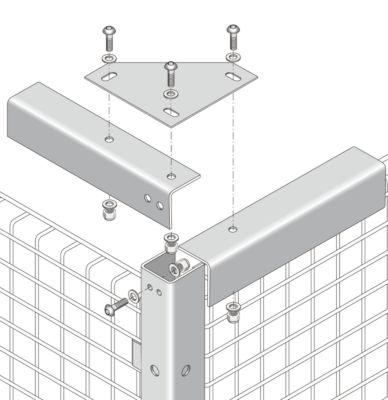 Aansluitbeugel, voor scheidingswandsystemen met gaas, voor stabilisatie, geel
