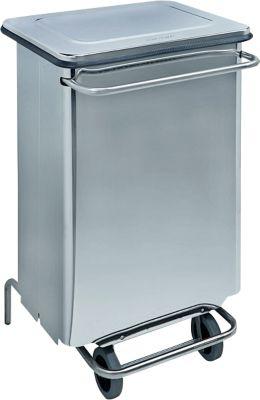 Abfallbehälter Continox, Edelstahl, 2 Gummiräder, mit Pedal, 70 Liter